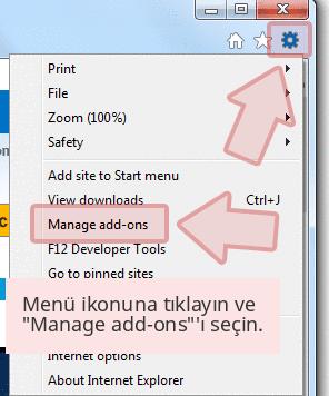Menü ikonuna tıklayın ve 'Manage add-ons''ı seçin.