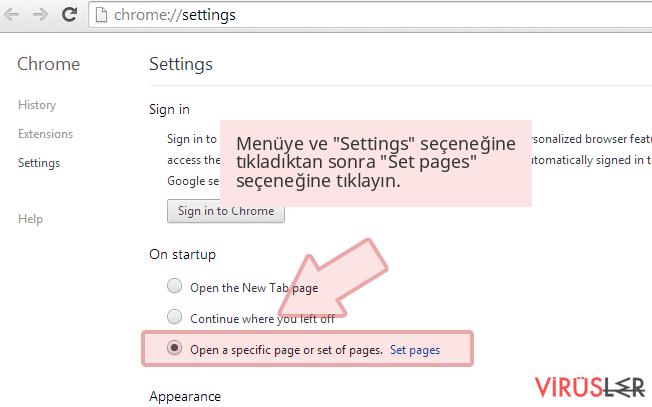 Menüye ve 'Settings' seçeneğine tıkladıktan sonra 'Set pages' seçeneğine tıklayın.