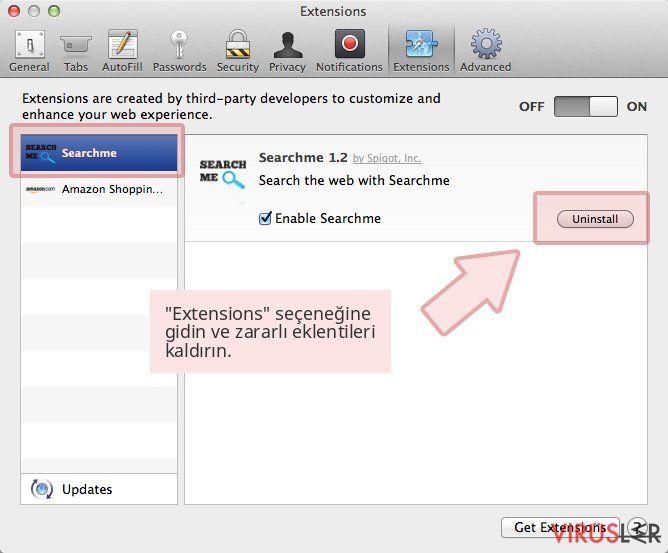 'Extensions' seçeneğine gidin ve zararlı eklentileri kaldırın.
