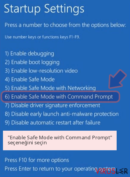 'Enable Safe Mode with Command Prompt' seçeneğini seçin