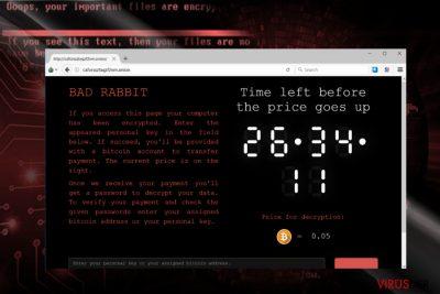 BadRabbit ödeme sitesinin ekran görüntüsü