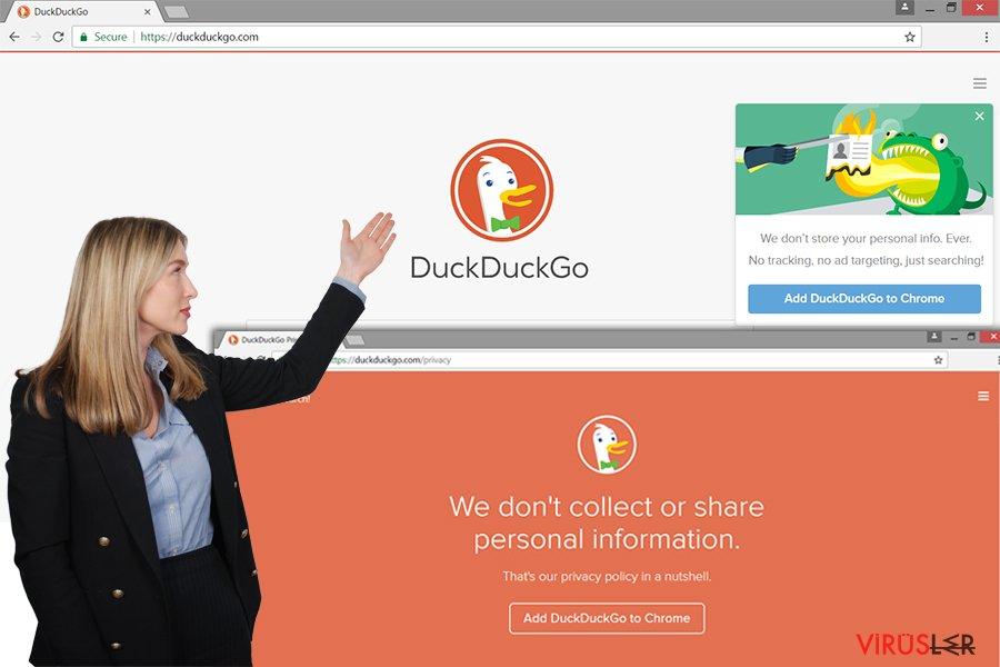 DucDuckGo reklam yazılımı sitesi