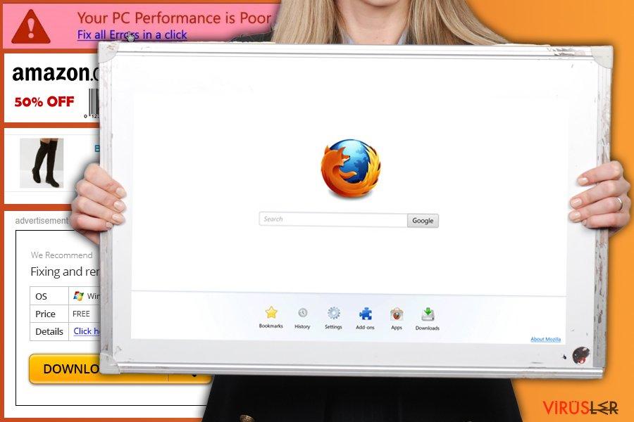 Firefox yönlendirme virüsünün resmi