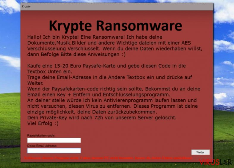 Krypte virus displays ransom note in German language