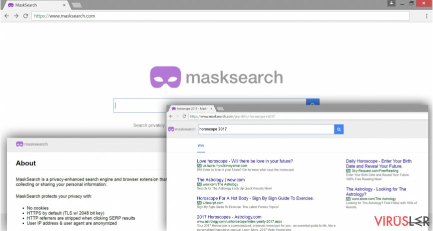 The illustration of MaskSearch.com virus