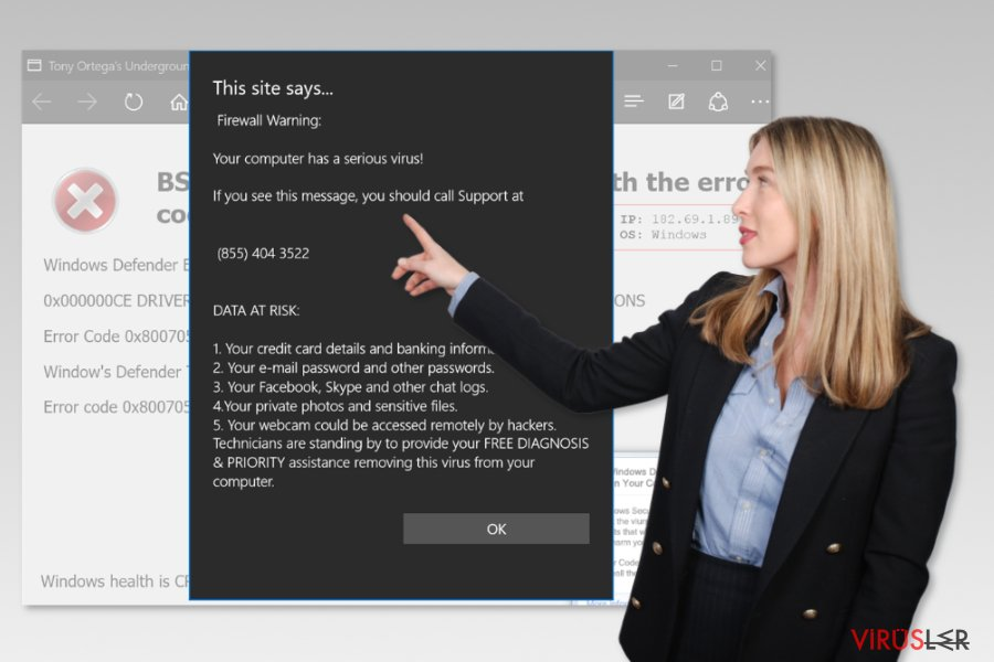 Microsoft Edge teknik destek virüsü