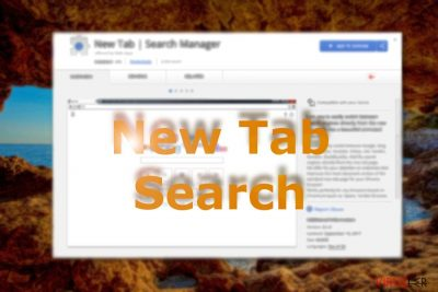 Resim Chrome mağazasında bulunan New Tab Search eklentisini gösteriyor