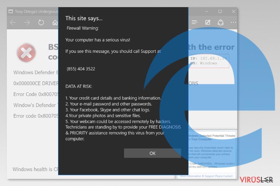 Microsoft Edge virüsü ekran görüntüsü