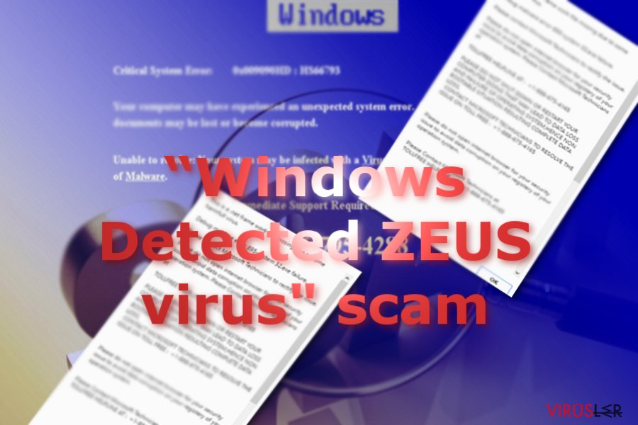 The image displaying Windows Detected ZEUS scam messages