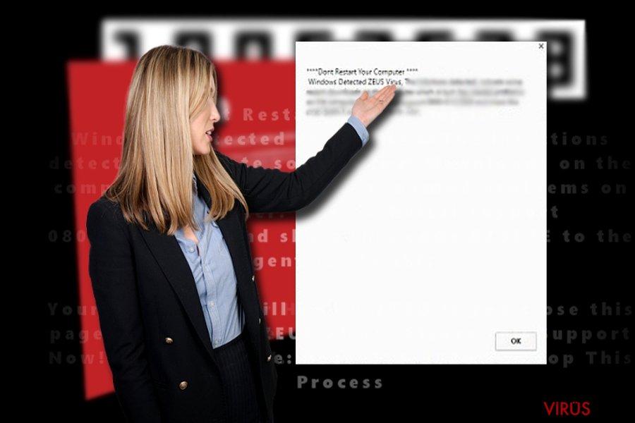 """""""Windows Detected ZEUS virüs""""ünün ekran görüntüsü"""