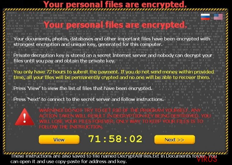 Your personal files are encrypted virüsü bellek kopyası